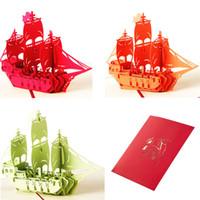 ingrosso biglietti augurali di anniversario fatti a mano-Wholesale-3D Pop Up Greeting Card Handmade nave compleanno Pasqua Anniversary Natale C42