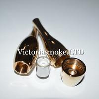 Wholesale Fedex T - 100pcs Fedex Free Gold Vase cannons Bowling Atomizer Wax Vaporizer wax Ceramic Coil Rebuildable Vase Metal Vapor E Cigs For ego T evod Ecigs