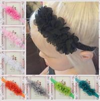 Wholesale Newborn Headbands Mixed - Infant Kids Headbands Mix Girls Flower Headband Children Hair Accessories Newborn 3 Flower Hairbands Baby Chiffon Headbands 16 colors KHA155