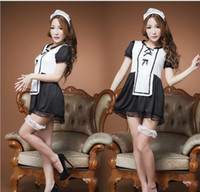 Wholesale Lovely Underwear Sex - w1028 New sell well Sexy lingerie Lovely Maid clothing COSPLAY women costumes Sex Products toy Sexy underwear pajamas Role play