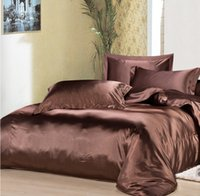 Wholesale Silk Comforter Brown - Custom Size Solid Color Bedding Set Brown 50% Silk Satin Bedding Sets King Size Comforter Sets Queen Full Twin Fitted Cover Wedding Supplies