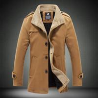 patrón de chaqueta de lana para hombre al por mayor-Nuevo patrón de otoño e invierno para hombre de pie de lana cuello abrigos sueltos lana de cordero Worsted gruesas chaquetas 4XL medio y largo párrafo rompevientos