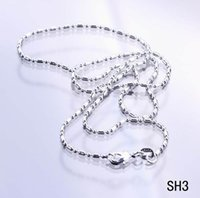 Wholesale 925 Italy Chains - 2015 Charms Solid Beads Italy Links Plated 925 Sterling Silver Necklace Chain Lobster Clasps Fashion Jewelry For Women Girls SH3-18 50PCS