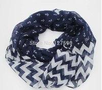 Wholesale Chevron Polyester Infinity Scarf - 2015 New Small Anchor Chevron Infinity Scarf Women ZigZag With Anchor Loop Round Circle Scarf Wholesale 10pcs lot FREE SHIPPING