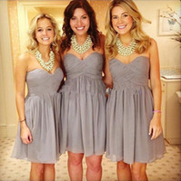 Wholesale Best Dresses For Size 12 - Best Selling Gray Short Bridesmaid Dresses Chiffon Ruffles Knee Length Cheap Under $50 Bridesmaid Gowns For Wedding Custom Made Plus Size
