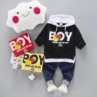 Wholesale Plaid T Shirt Hoodie - Baby Clothing Boys 3 PCS Clothing T-shirt+Hoodies+Pants Set Suits Lovely Bayb Clothing Colors 4 S L