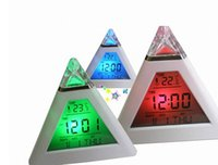 Wholesale Wholesale Thermometer Europe - 100pcs Free Shipping DHL Digital Home Travel LCD Snooze Alarm Clock Pyramid 7 Color LED Calendar C F Thermometer
