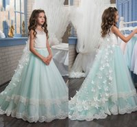 Wholesale Green Crystal Butterfly Beads - 2017 Girls Pageant Dresses Mint Green Lace Applique 3D Butterfly Floral Sash Crystal Beads Long Tulle Kids Flower Girls Dress Birthday Gowns
