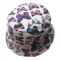 Wholesale Hat Womens - Wholesale-Ladies hats women fashion hats 2015 polo bucket womens hats print butterfly white blue hip hop women