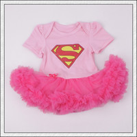 Wholesale Pink Chiffon Romper - Cute Baby infant toddler Superman Superwomen romper Onesies Dress tutu skirt lace short chiffon ruffles pink Pajamas COTTON bodysuits