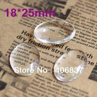 Wholesale Magnifying Domes - 100pcs lot, Good Quality 18X25mm Dome Oval Transparent Clear Magnifying Glass Cabochon