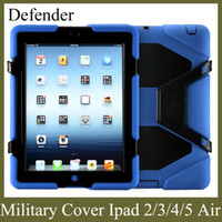 Wholesale Ipad Protector Leather Case - apple tablet PC cover for ipad2 3 4 5 ipad air with screen protector military stand case shockproof defender colorful freeshiping PCC001