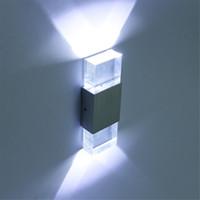 современный свет высокое качество оптовых-220 В современный 4 Вт светодиодный настенный светильник ванная комната свет высокое качество алюминиевый корпус, акриловый Кристалл настенный светильник спальня гостиная дом стены