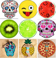Wholesale pie designs - 18 Design Round Beach Shower Towel Blanket Yoga Towel Skull Ice Cream Strawberry Smiley Emoji Pineapple Pie Watermelon Towel 30 pcs