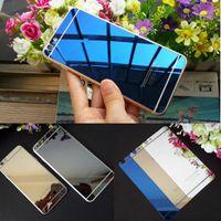 protetor de tela colorida iphone 5s venda por atacado-2pic / lot frente + voltar vidro temperado para iphone 4s 5 5s 6 6 plus protetor de tela tampa completa efeito de espelho cor película protetora