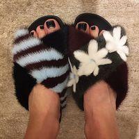 Wholesale Mink Fur Flowers - 2018 Winter Trendy New Brand Asymmetric Posh Fur Slippers Natural Mink Fur Slides Flower Decor Flat Shoes Women
