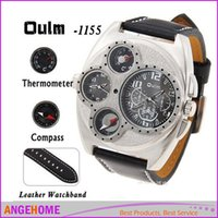 Wholesale Thermometer Big - Oulm 1155 Men's Dual Movement Sports military Watch with Compass & Thermometer decoration black dial big size 5.7cm diameter