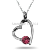 Wholesale Cheap Pink Rhinestone Jewelry Necklace - 5Pcs Lot Zinc Alloy Rhodium Plated Hand-made Cheap Stylish Pink Rhinestone Hollow Heart Pendant Necklace Jewelry