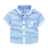Wholesale Handsome Shirts - Handsome Baby clothing for wedding Gentle Boys dots summer short sleeve shirt boy Tops 100%cotton shirts boy Kids clothes