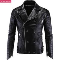 ingrosso vestiti freddi del partito-All'ingrosso- Abbigliamento di marca Cool Fashion Party Essential Leather Motorcycle Jacket Cappotto in pelle di alta qualità Plus Size Y998