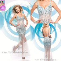 Wholesale New Sexy Backless Spaghetti Beaded - White Sheath Sexy Luxury Beaded Prom Dresses Spaghetti Floor Length Unique Backless Tulle Custom Made Party Dresses New Arrival Fashion 2015