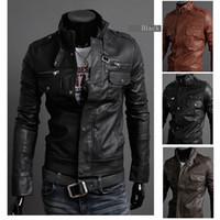 Wholesale Leather Jackets Lapels Men - Men Lapel Zipper soft PU casual Jacket Faux Leather Jackets outwear coat Men's clothing