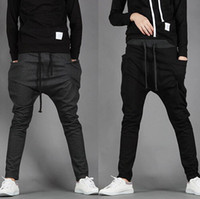 Wholesale Loose Black Trousers - New 2017 Mens Joggers Fashion Harem Pants Trousers Hip Hop Slim Fit Sweatpants Men for Jogging Dance 8 Colors sport pants M~XXL