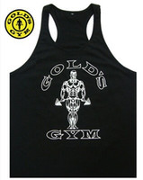 Wholesale mens black vest xxl - New 2017 Bodybuilding Vest Men GOLD'S sports Tank Top Professional GYM Fitness mens Tank Top Size M-XXL