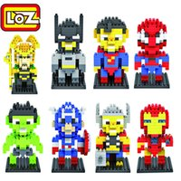 8Pcs LOZ Nano Block Super Hero Homem-Aranha Superman Batman Iron Man Loki Capitão América Hulk Thor Brick Toy Xmas Presente com caixa