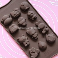 Wholesale Character Silicone Molds - Wholesale Free shipping 200pcs lot Cute 15 kinds of chocolate molds cartoon characters silicone food molds S43