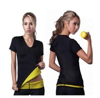 Wholesale Shorts Stretchy - Hot shapers women Neoprene T Shirts shaper stretchy Sweating slimming shirt short sleeve top weight loss for women B267-1