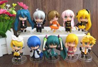 Wholesale Clay Mario - 10 pcs First MIKU Q edition figure the clay toy sound mirror sound Black Rock Hatsune Miku doll the top 10 model