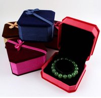 Wholesale Velvet Bow Jewelry Gift Boxes - Bracelet Box Jewelry Box Bow Tie Velvet Size 9.5*9.5*4.5CM Jewelry Boxes For Sale Wedding Gift Box Stud Box 10Pcs Lot 2016 March Style