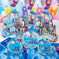 Gefrorene Dekoration liefert 90pcs Anna Elsa Olaf Thema Pappteller Party Supplies Baby-Geburtstags-Partydekoration Supplies