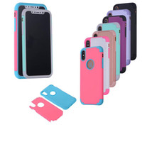 Wholesale Candy Plastics - 2 in 1 Shockproof Case Hybrid Protector Candy Cases Cover For For iPhone X 7 6 6S Plus 5 5S Samsung S8 Plus S7 S6 Edge LG G5 G4