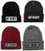 Wholesale Beanie Wifey - New Winter Beanies solid Color Hat Unisex Warm Soft Beanie Skull Knit AIN'T NO WIFEY cap Knitted thickness Touca Gorro Caps