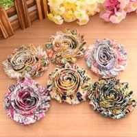 Wholesale Diy Shabby Chic Chiffon Flowers - Children's hair accessories components shabby chiffon flower hair flower chic printed flower for headband clips or barefoot sandals DIY