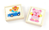 Wholesale Wooden Bear Dress - Wholesale-Free delivery, children's toys, little bear dressing game 2, wooden hand grasp jigsaw puzzle, baby educational wooden toys