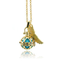 Wholesale Brass Chimes - High Quality Angel Necklaces Caller Harmony Dangle Feather Copper Chime Ball Cage Pendants Necklaces For Women Jewelry