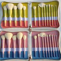 Wholesale Pro Makeup Bags - Gradient Color Professional Makeup Brushes VDL pantone+mydestiny pro 14pcs Makeup Brush Set with Leather Bag