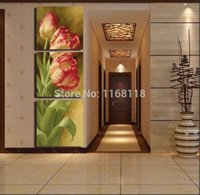 Wholesale Tulip Paintings Wall - 3 Pieces Free Shipping popular Hot Sell Modern Wall Painting Tulip Flowers Home Wall Art Picture Paint on Canvas Prints