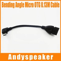 Wholesale Right Angle Hdmi Cable Adapter - 13CM Micro to OTG Cable Right angle HD Adapter Bending angle Male to Female 0.13M Host OTG Adapter Cable Black High Speed 100pcs up