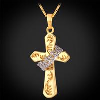 подвеска с двумя кольцами оптовых-Мужские двухцветные подвески с крестом из золота 18 карат натурального золота / платины с покрытием из высококачественного тонкого колье-короны