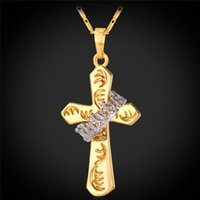 Wholesale Two Tone Cross Pendants - Unisex Two Tone Gold Cross Pendants 18K Real Gold Platinum Plated High Quality Delicate Crown Ring Necklaces