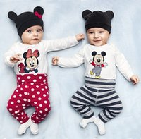 Wholesale Baby Bodies Long Sleeve - 2015 Baby Romper 3 Pieces Set Hat+T-shirt+Shorts cartoon Mickey Minnie Pattern Style Romper Baby Body Suits Children's Outfits C001
