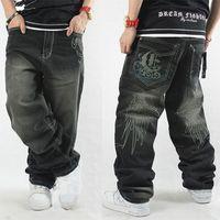 Wholesale Hip Ad - Wholesale-Men hiphop jeans black skateboard baggy style jeans hip hop men's and boy's ad dance pants embroidery full length big size