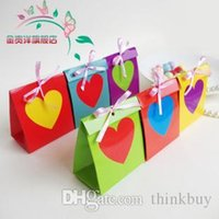 Wholesale Rainbow Wedding Favor Boxes - Free shipping wedding favor box--Rainbow 6 color European creative candy box chocolate box party gift favor box 50pcs lot 052929