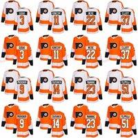 ingrosso jersey su misura-2018 New Philadelphia Flyers Maglie Ice 3 Radko Gudas 9 Ivan Provorov 11 Travis Konecny Jersey marca custom 37 Brian Elliott Orange White