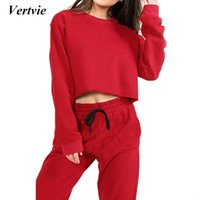 Atacado- Vertvie Sport Suit For Women Fitness Yoga Tops + Calças 2 Piece High Waist Outdoor Sports Tracksuit Casual Running Gym Clothing