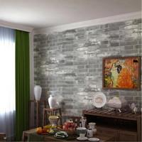 Wholesale Grey Vinyl - vinyl vintage grey stone wallpaper for classical brick designs wall paper for living room